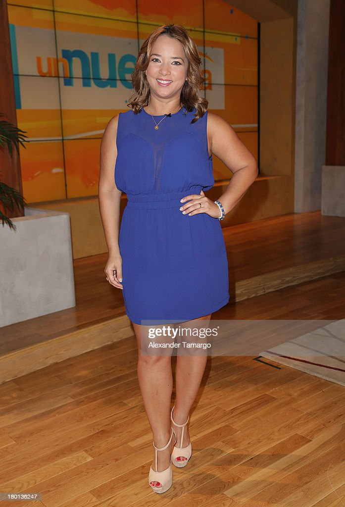 <a gi-track='captionPersonalityLinkClicked' href=/galleries/search?phrase=Adamari+Lopez&family=editorial&specificpeople=2550892 ng-click='$event.stopPropagation()'>Adamari Lopez</a> is seen on the set of Telemundo's 'Un Nuevo Dia' at Telemundo Studio on September 9, 2013 in Miami, Florida.