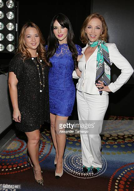 Adamari Lopez Vanessa Villela and Laura Flores attend Telemundo Luncheon to launch 'Camelia Le Texana' during NATPE at Eden Roc Hotel on January 27...