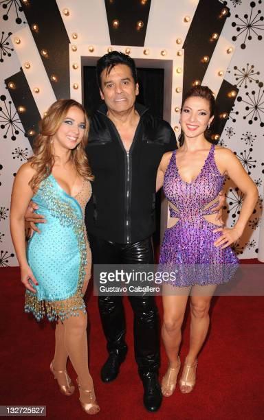Adamari LopezErick Estrada and Priscilla Angel attend Univisions Mira Quien Baila Semifinal at Greenwich Studios on November 13 2011 in Miami Florida