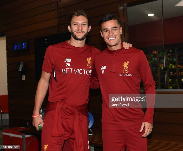 Adan Lallana and Philippe Coutinho of Liverpool return to Melwood for their first day back at Melwood Training Ground on July 11 2017 in Liverpool...