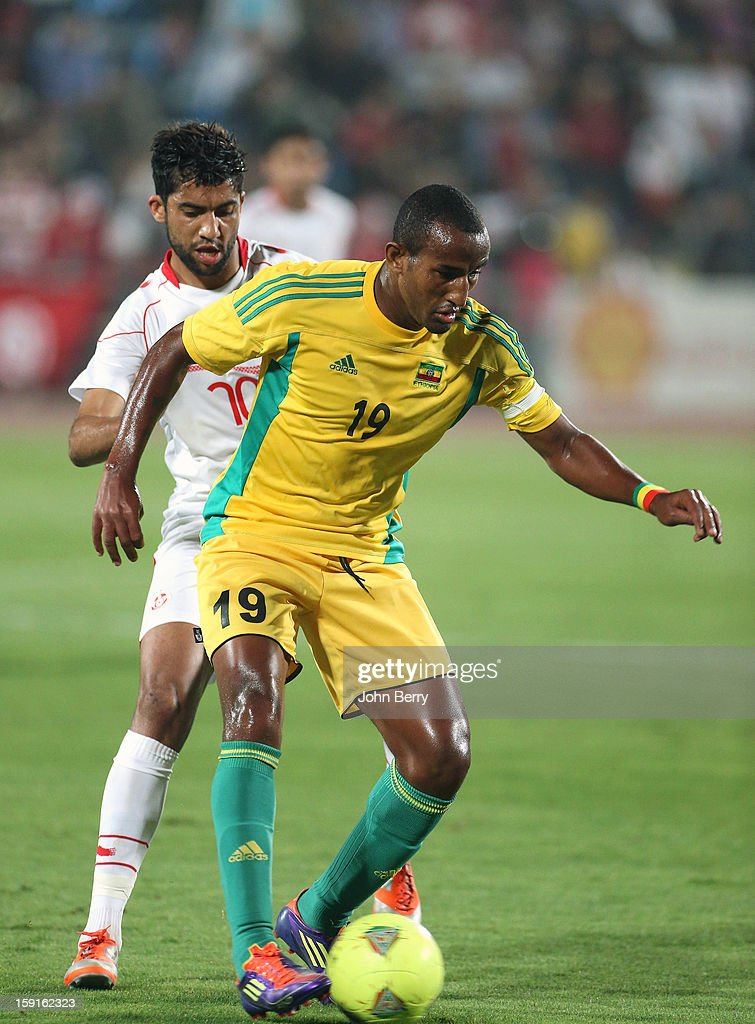 Adane Girma of Ethiopia in action during the international friendly game between Tunisia and Ethiopia at the Al Wakrah Stadium on January 7, 2013 in Doha, Qatar.