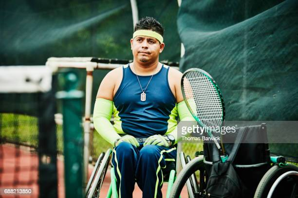 Adaptive athlete preparing for wheelchair tennis match