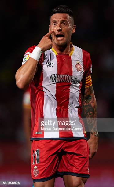 Aday Benitez of Girona reacts during the La Liga match between Girona and Barcelona at Municipal de Montilivi Stadium on September 23 2017 in Girona...
