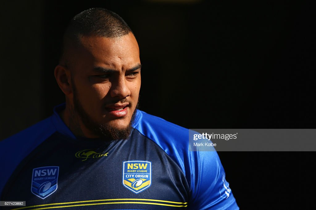 Addin Fonua-Blake looks on during a City NSW Origin training session at Leichhardt Oval on May 3, 2016 in Sydney, Australia.