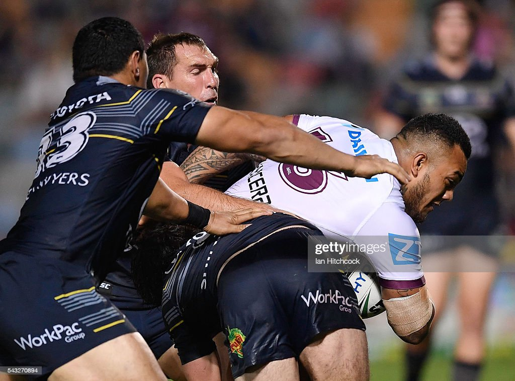 Addin Fonua-Blake of the Sea Eagles scores a try during the round 16 NRL match between the North Queensland Cowboys and the Manly Sea Eagles at 1300SMILES Stadium on June 27, 2016 in Townsville, Australia.
