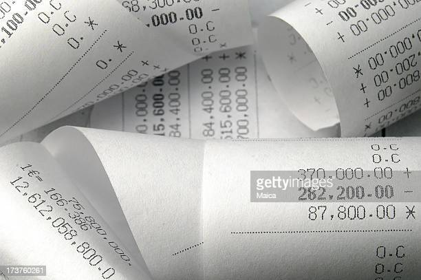 Adding machine printouts