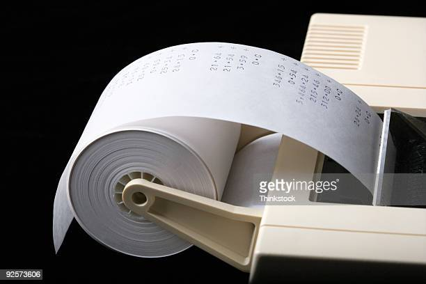 Adding machine with tape