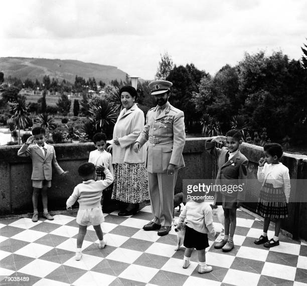 Addis Ababa Ethiopia Africa Emperor Haile Selassie and his wife are pictured with the children of the Duke of Harar and of the Crown Prince on the...