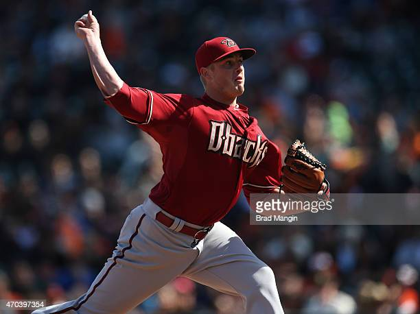 Addison Reed of the Arizona Diamondbacks pitches against the San Francisco Giants during the game at ATT Park on Sunday April 19 2015 in San...