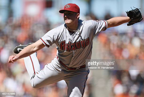 Addison Reed of the Arizona Diamondbacks pitches in the bottom of the ninth inning against the San Francisco Giants at ATT Park on July 12 2014 in...