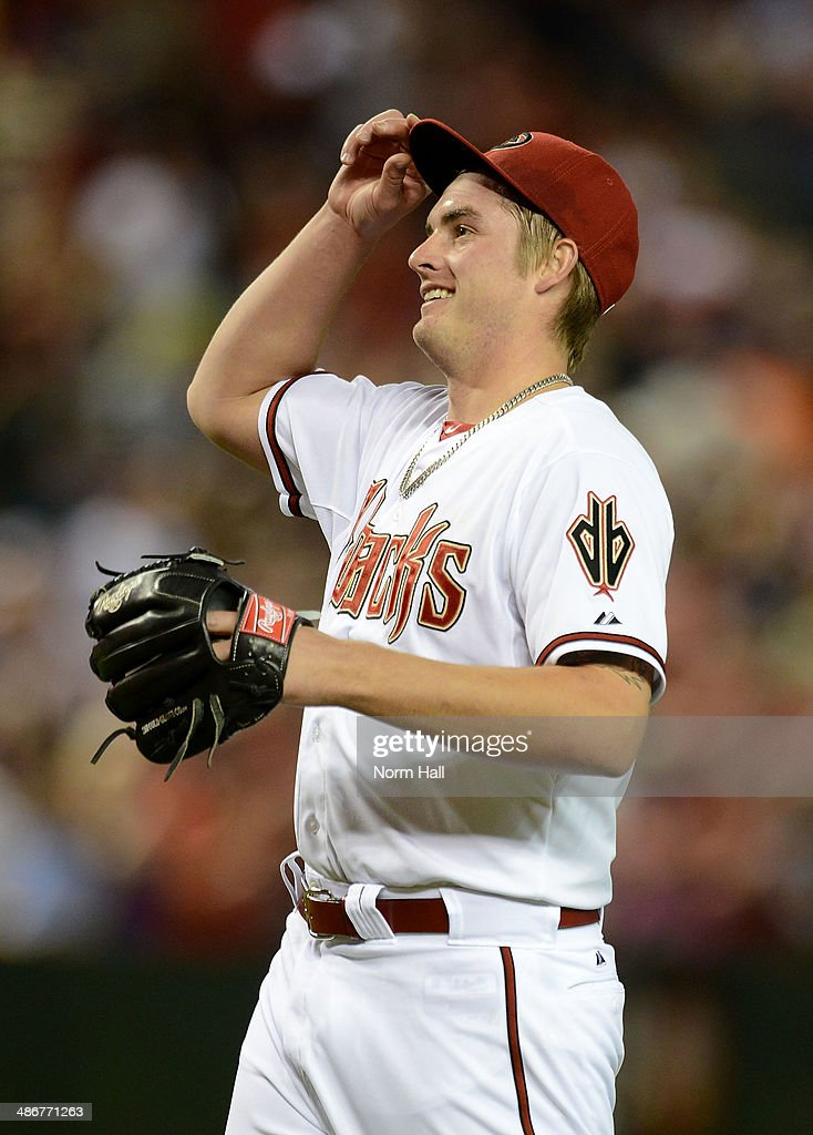 <a gi-track='captionPersonalityLinkClicked' href=/galleries/search?phrase=Addison+Reed&family=editorial&specificpeople=8195266 ng-click='$event.stopPropagation()'>Addison Reed</a> #43 of the Arizona Diamondbacks smiles after getting a save against the Philadelphia Phillies at Chase Field on April 25, 2014 in Phoenix, Arizona. Arizona won 5-4.