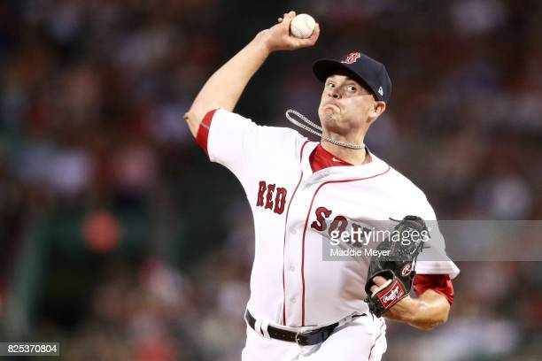 Addison Reed of the Boston Red Sox pitches against the Cleveland Indians during the eighth inning at Fenway Park on August 1 2017 in Boston...