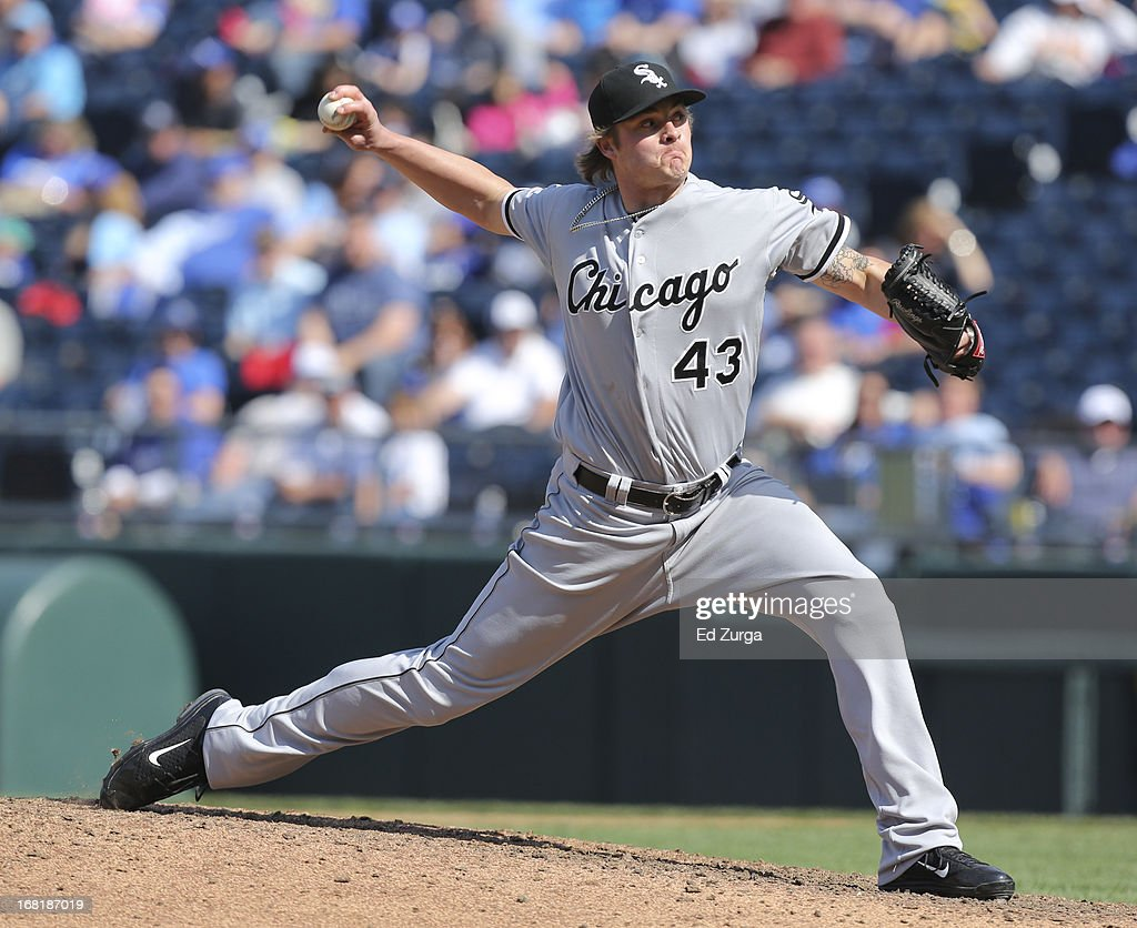 Addison Reed #43 of the Chicago White Sox throws against the Kansas City Royals in the 11th inning at Kauffman Stadium on May 6, 2013 in Kansas City, Missouri. The White Sox won 2-1 in 11 innings.