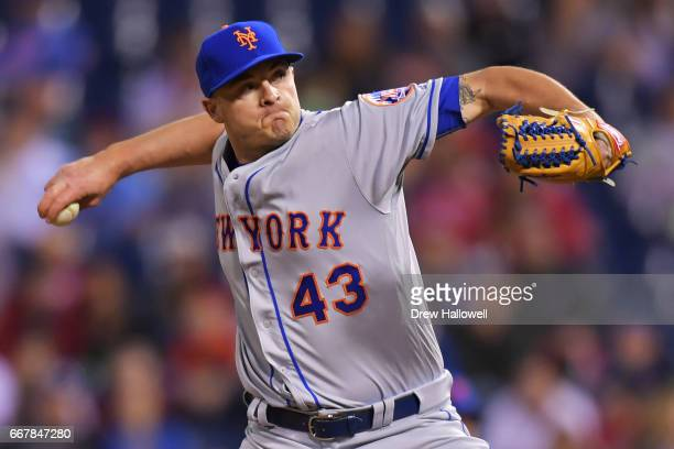 Addison Reed of the New York Mets delivers a pitch in the ninth inning against the Philadelphia Phillies at Citizens Bank Park on April 12 2017 in...