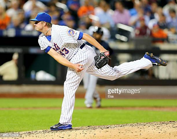 Addison Reed of the New York Mets delivers a pitch in the seventh inning against the Atlanta Braves on September 23 2015 at Citi Field in the...