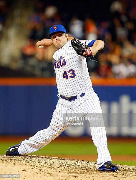 Addison Reed of the New York Mets in action against the Philadelphia Phillies at Citi Field on September 1 2015 in the Flushing neighborhood of the...