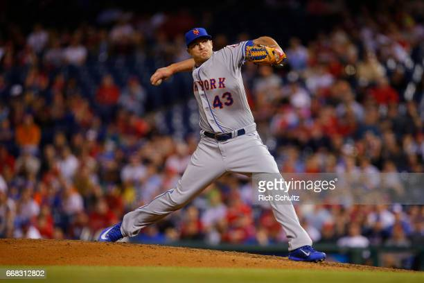 Addison Reed of the New York Mets in action during a game against the Philadelphia Phillies at Citizens Bank Park on April 10 2017 in Philadelphia...