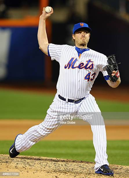 Addison Reed of the New York Mets pitches against the Kansas City Royals during Game Three of the 2015 World Series at Citi Field on October 30 2015...