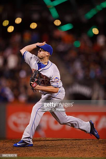 Addison Reed of the New York Mets pitches against the San Francisco Giants during the eighth inning at ATT Park on August 18 2016 in San Francisco...