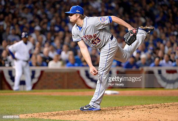 Addison Reed of the New York Mets pitches during Game 4 of the NLCS against the Chicago Cubs at Wrigley Field on Wednesday October 21 2015 in Chicago...