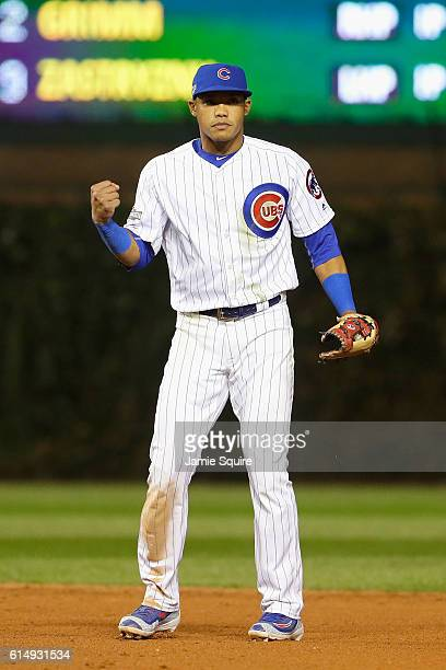 Addison Russell of the Chicago Cubs celebrates after defeating the Los Angeles Dodgers 84 in game one of the National League Championship Series at...
