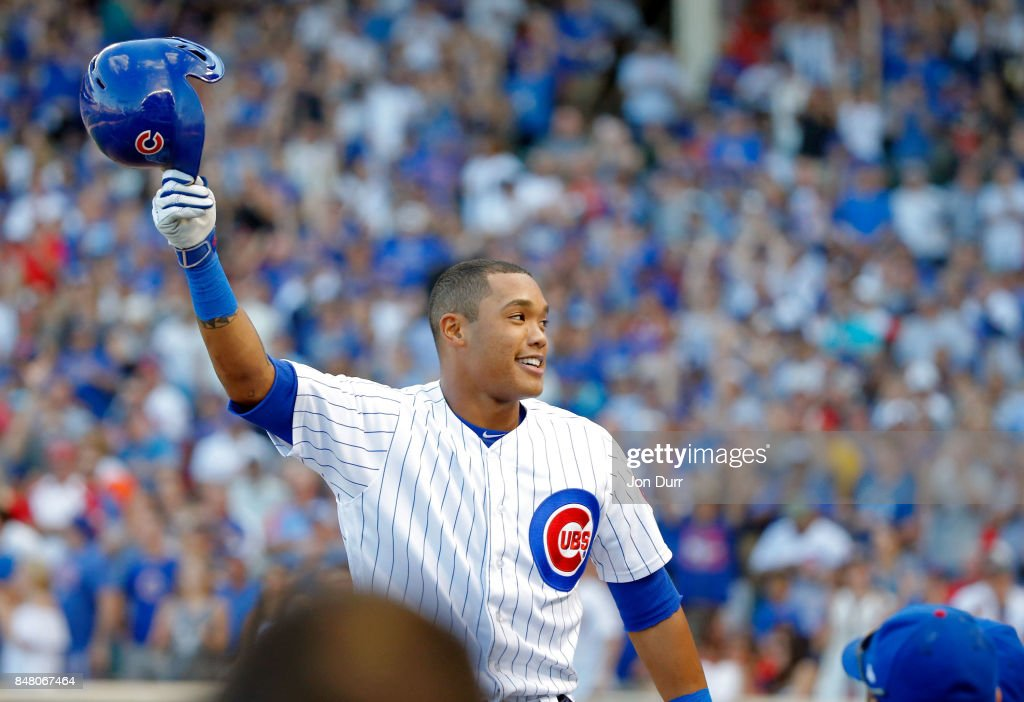 CHICAGO, IL   SEPTEMBER 16: Addison Russell #27 Of The Chicago Cubs Gives A Curtain  Call After Hitting A Home Run Against The St. Louis Cardinals During The ...