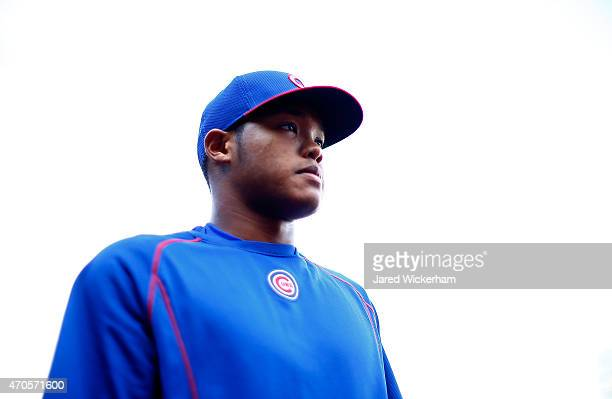 Addison Russell of the Chicago Cubs takes batting practice prior to his first MLB game against the Pittsburgh Pirates at PNC Park on April 21 2015 in...