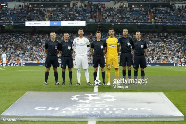 additional assistant referee Jerome Miguelgorry assistant referee Fredric Haquette Sergio Ramos of Real Madrid referee Benoit Bastien Nuno Morais of...