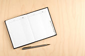 Address book and ballpoint pen on wooden table.