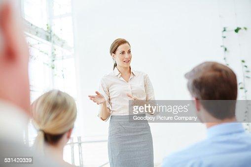 Addressing her peers