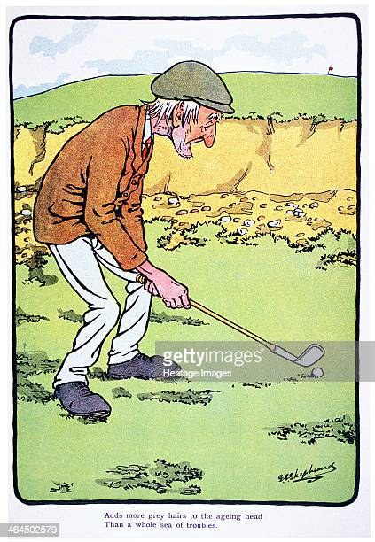 Adds more grey hairs to the ageing head than a sea of troubles Golfing postcard c1920s