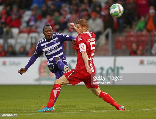 Addy Waku Menga of Osnabrueck scores the second goal during the third league match between FC Energie Cottbus and VFL Osnabrueck at Stadion der...
