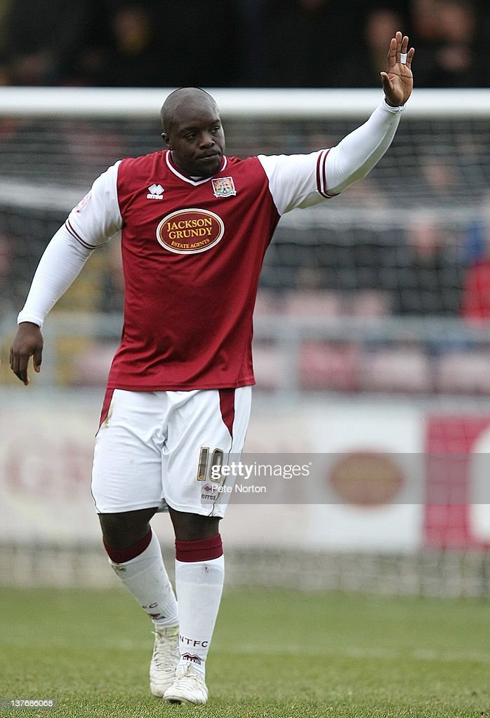 Adebayo Akinfenwa of Northampotn Town celebrates after scoring his sides goal during the npower League Two match between Northampton Town and Barnet at Sixfields Stadium on January 21, 2012 in Northampton, England.