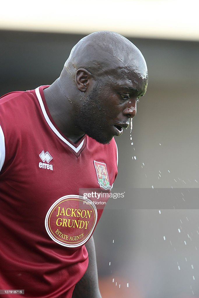 <a gi-track='captionPersonalityLinkClicked' href=/galleries/search?phrase=Adebayo+Akinfenwa&family=editorial&specificpeople=609204 ng-click='$event.stopPropagation()'>Adebayo Akinfenwa</a> of Northampton Town in action during the npower League two match between Barnet and Northampton Town at Underhill Stadium on October 1, 2011 in Barnet, England.