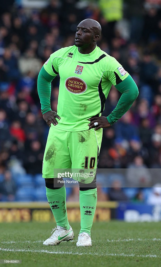 Adebayo Akinfenwa of Northampton Town in action during the npower League Two match between Chesterfield and Northampton Town at the Proact Srtadium on January 12, 2013 in Chesterfield, England.