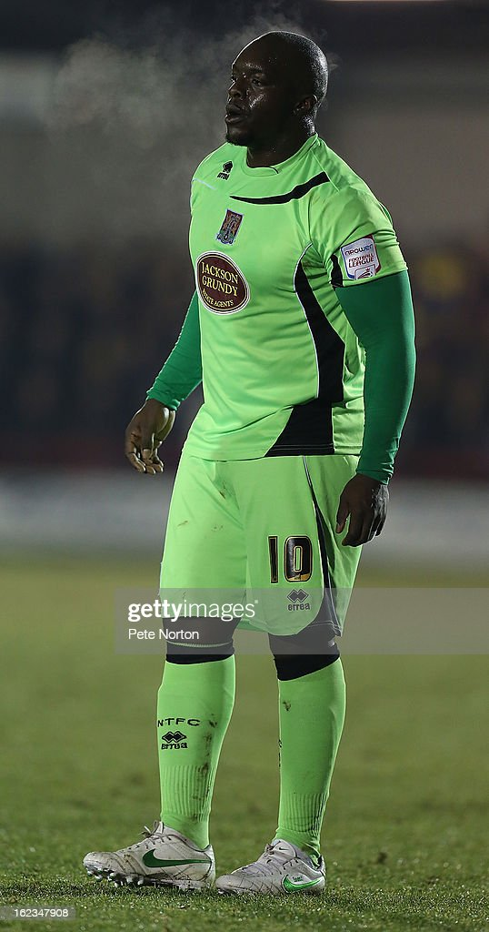<a gi-track='captionPersonalityLinkClicked' href=/galleries/search?phrase=Adebayo+Akinfenwa&family=editorial&specificpeople=609204 ng-click='$event.stopPropagation()'>Adebayo Akinfenwa</a> of Northampton Town in action during the npower League Two match between AFC Wimbledon and Northampton Town at The Cherry Red Records Stadium on February 19, 2013 in Kingston upon Thames, England.