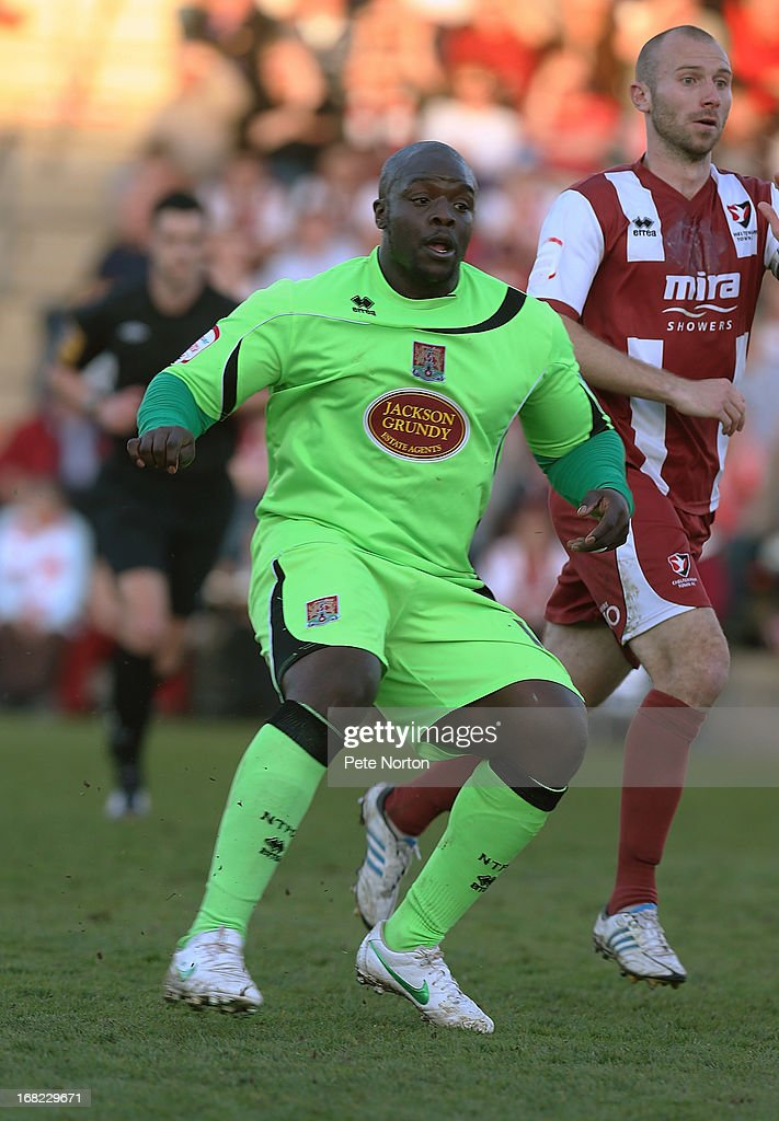 Adebayo Akinfenwa of Northampton Town in action during the npower League Two Play Off Semi Final Second Leg between Cheltenham Town and Northampton Town at Abbey Business Stadium on May 5, 2013 in Cheltenham, England.