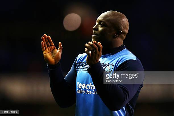 Adebayo Akinfenwa of Wycombe Wanderers appluds the fans after the Emirates FA Cup Fourth Round match between Tottenham Hotspur and Wycombe Wanderers...