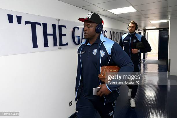 Adebayo Akinfenwa of Wycombe Wanderers arrives prior to the Emirates FA Cup Fourth Round match between Tottenham Hotspur and Wycombe Wanderers at...