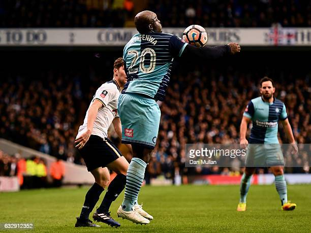 Adebayo Akinfenwa of Wycombe Wanderers controlls the ball during the Emirates FA Cup Fourth Round match between Tottenham Hotspur and Wycombe...