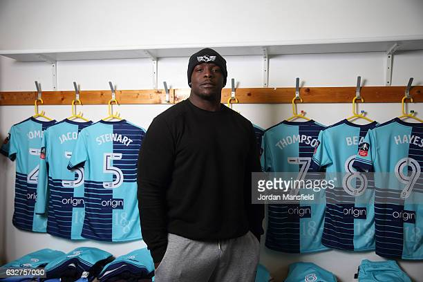 Adebayo Akinfenwa of Wycombe Wanderers poses for a portrait during Wycombe Wanderers Media Access at the Wycombe Wanderers FC Training Ground on...