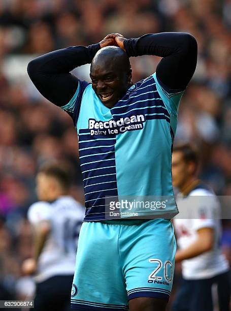 Adebayo Akinfenwa of Wycombe Wanderers reacts during the Emirates FA Cup Fourth Round match between Tottenham Hotspur and Wycombe Wanderers at White...
