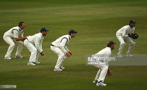 Adeel Shafique of Nottinghamshire Cricket Board Academy stands in for Hampshire's wicket keeper Nic Pothas after he injured his calf during the...