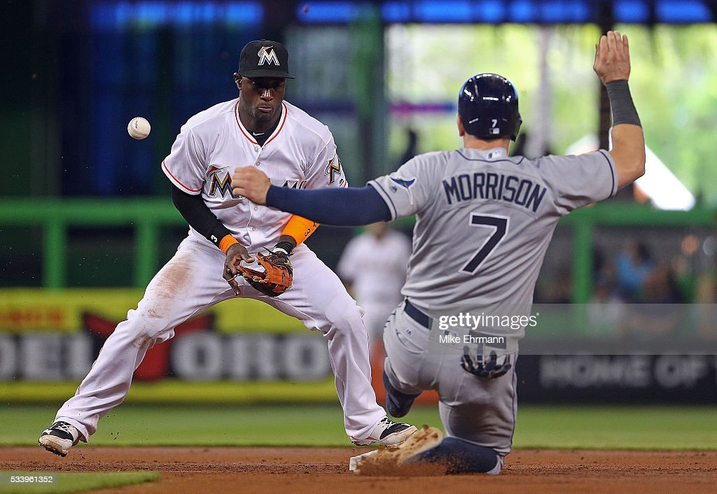 Adeiny Hechavarria #3 of the Miami Marlins misses the throw as Logan Morrison #7 of the Tampa Bay Rays steals second during a game at Marlins Park on May 24, 2016 in Miami, Florida.
