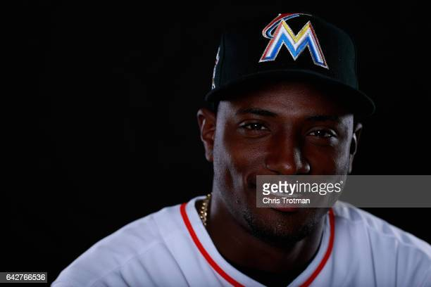 Adeiny Hechavarria of the Miami Marlins poses for a photograph at Spring Training photo day at Roger Dean Stadium on February 18 2017 in Jupiter...
