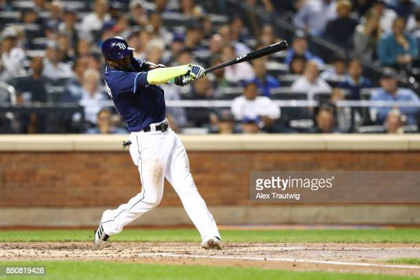 Adeiny Hechavarria of the Tampa Bay Rays bats during the game against the New York Yankees at Citi Field on Monday September 11 2017 in the Queens...
