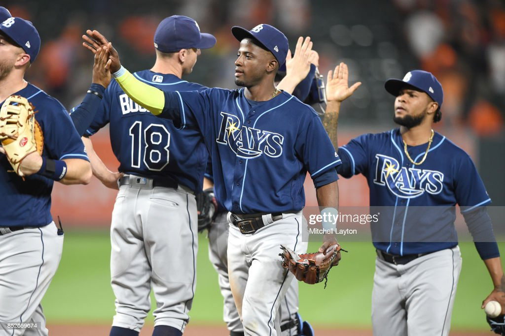 Adeiny Hechavarria #11 of the Tampa Bay Rays celebrates a win after a baseball game against the Baltimore Orioles at Oriole Park at Camden Yards on September 23, 2017 in Baltimore, Maryland.