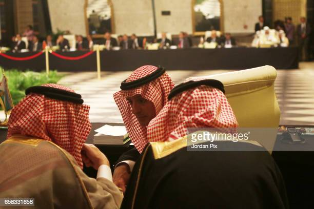Adel Al Jubeir Saudi foreign minister attends during the foreign ministers meeting prior to the Arab leaders Summit that takes place on March 29th at...