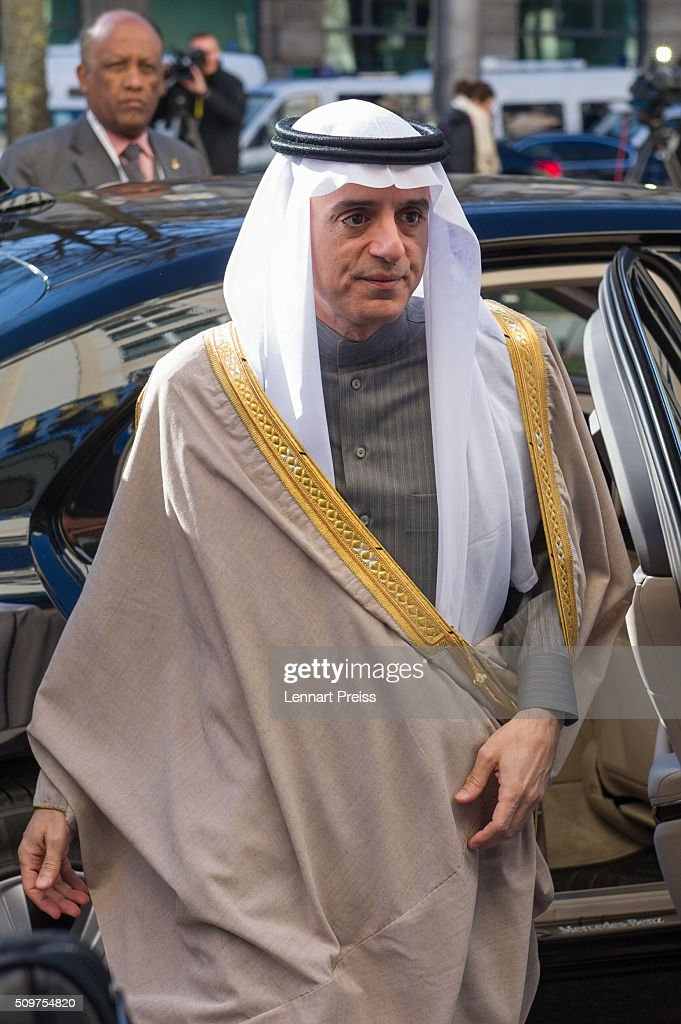 Adel bin Ahmed Al-Jubeir, Minister for Foreign Affairs of the Kingdom of Saudi Arabia, arrives for the 2016 Munich Security Conference at the Bayerischer Hof hotel on February 12, 2016 in Munich, Germany. The annual event brings together government representatives and security experts from across the globe and this year the conflict in Syria will be the main issue under discussion.