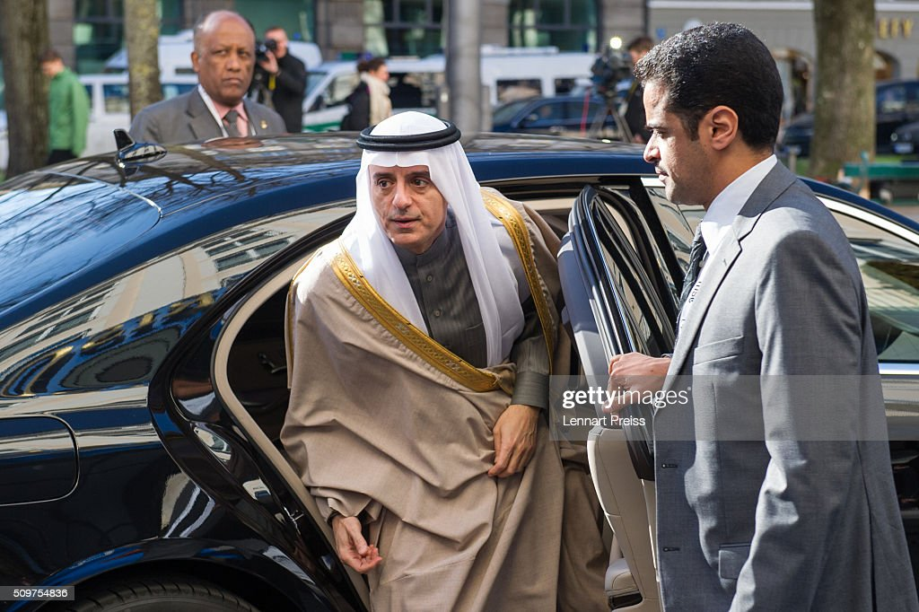 Adel bin Ahmed Al-Jubeir (C), Minister for Foreign Affairs of the Kingdom of Saudi Arabia, arrives for the 2016 Munich Security Conference at the Bayerischer Hof hotel on February 12, 2016 in Munich, Germany. The annual event brings together government representatives and security experts from across the globe and this year the conflict in Syria will be the main issue under discussion.
